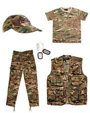 KIDS ARMY FANCY DRESS COSTUME SET - NEW - BTP CAMO - FREE U.S GLOWSTICK