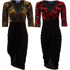 Womens 3/4 Sleeve Wrap V Neck Leaf Floral Mesh Flock Asymmetric Bodycon Dress