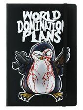 Psycho Penguin Notebook World Domination Plans A5 Hard Cover Black 14x21cm