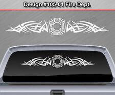 #105-01 FIRE DEPT Firefighter Tribal Rear Window Decal Sticker Vinyl Graphic Car