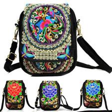 Ethnic Women Cell Phone Bag Retro Embroider Purse Messenger Crossbody Bag Wallet