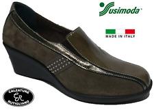 SUSIMODA SCARPE DONNA MOCASSINI ZEPPA CAMOSCIO VERNICE TAUPE-8313/55