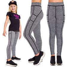 Girls Sports Solid Leggings Striped Elastic Kids Pants School Trousers FS7131