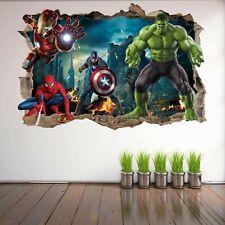 Superhero Wall Art Stickers Mural Decal Hulk Spiderman Iron Man Home Decor EA73