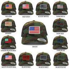 American Flag Patch Snapback Trucker Mesh Cap - Camo - FREE SHIPPING
