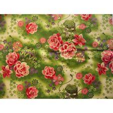 coupon tissu Japonais 55x49cm ballon boite fleur doré vert 17 [MARIZOME]