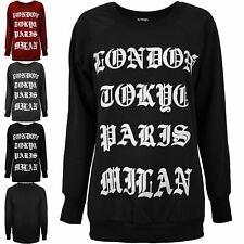 Womens London Tokyo Paris Milan Crew Neck Knitted Fleece Pullover Sweatshirt Top