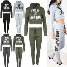 Womens Ladies I Woke Up Like This Slogan Hoodie Sweatshirt Joggers Tracksuit Set