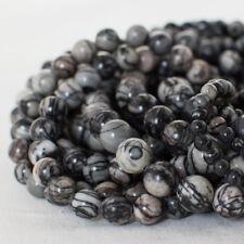 Grado A Piedra De Seda Natural (Gris) redonda con cuentas de piedras preciosas - 4 mm 6 mm 8 mm 10 mm