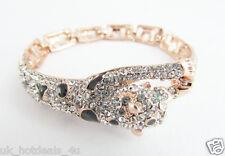 Rhinestone Leopard Rose Gold Bracelet Crystal Cat Crystal Bling Vintage Bracelet