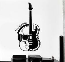 Vinyl Wall Decal Guitar Headphones Skull Musical Quote Stickers (ig4463)