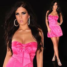Sexy satin palloncino vestito bandeau vestito rosa strass #ak487