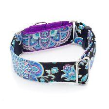 "Sapphire Flowers Black Dog Collar 1"" - 2"" Widths Caninus Collars"