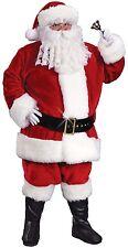 Mens Velour Father Christmas Xmas Santa Claus Fancy Dress Costume Outfit