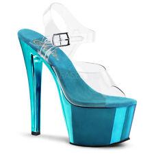 Pleaser SKY-308 Ladies Blue Spike Toe Pump Slide Vegan Shoe Ankle Strap Sandal