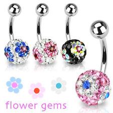 """Piercing de Ombligo Ferido Cristales 4 Colores """"Flor"""" Piercings por coolbody"""