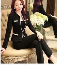 Tailleur completo donna nero riga bianca giacca manica lunga pantalone 7096 c40c042a460b