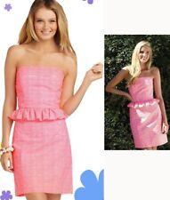 $188 Lilly Pulitzer Lowe Fiesta Pink Pretty Gingham Strapless Peplum Dress