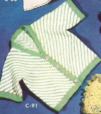 Vintage Knitting PATTERN to make Baby Cardigan Sweater Infant Sz. 2 GreenBias