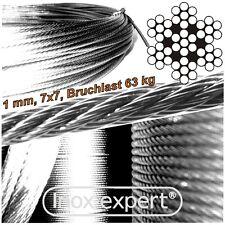 VA-Seil 1,0 mm 7X7 Drahtseil Edelstahl A4 Stahlseil NIROSTA Seilzug NIROSEIL V4A