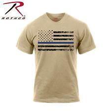 Rothco Thin Blue Line T-Shirt - Desert Sand TBL American Flag Casual Tee Shirt