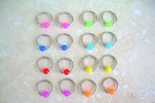"PAIR 2-PCS 14g 7/16"" Steel Captive Bead Ring 5MM Acrylic Neon Bead  Ear Nipple"