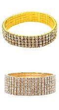 Fashion crystal rhinestone stretch bracelet wedding bridal bangel gold 4/7 #WQW