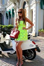 Karen Millen Lime Neon Floreale Maglia Contrasto in Pizzo Ricamato Skater Dress 8 - 12