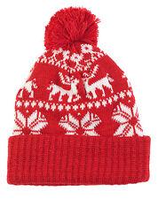 Damen Mädchen Christmashut Pudelmütze Wintermütze Mit Schneeflocken & Rentier