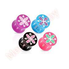 Acrylic Flower Pattern Saddle Ear Plug Piercing Jewellery CHOOSE SINGLE OR PAIR