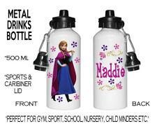 Personalised Metal Sport Water Drink Bottle School Nursery Disney Frozen Elsa