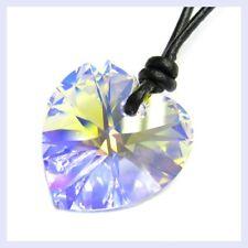 Swarovski Elements Crystal Heart Aurora Borealis Wax Cotton Adjustable Necklace