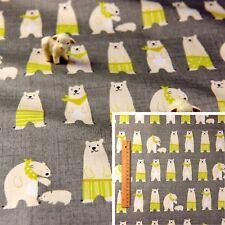 160cm WIDE GREY GREEN Meter/Fat Quarter/FQ Fabric Cotton Polar Bear Sewing Craft