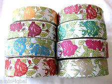 Borte, Webband weiß mit Blumenmuster, Farbe wählbar, lfm, 40mm breit  (B240)
