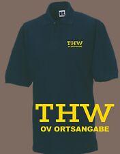 THW Polo-Shirt / Hemd navy mit Brust- und Rückenaufdruck