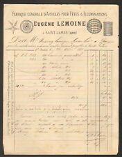 """SAINT-JAMES (50) ARTICLES pour FETES & ILLUMINATIONS """"Eugene LEMOINE"""" en 1881"""