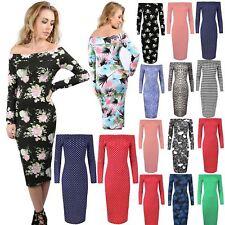 Women Ladies Printed Floral Off the Shoulder Long Sleeve Midi Dress plus sizes