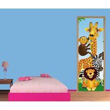 Papier peint porte enfant Girafe singe zèbre lion 702