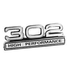 "302 5.0 Liter Engine High Performance Emblem Badge in White & Chrome - 4"" Long"