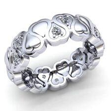 1ct Round Cut Diamond Ladies Alternating Heart Wedding Eternity Band 10K Gold