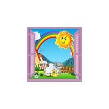 Sticker enfant La Ferme fenêtre trompe l'oeil réf 929