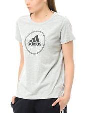 New Adidas Logo Cotton Top T-Shirt - Grey - Ladies Womens Girls