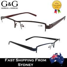 GG Men Semi Frame Rim Reading Glasses Smart Blue Brown 1.0 1.5 2.0 2.5 3.0 3.5