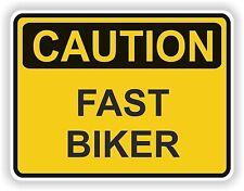 Rápido Biker precaución etiqueta de advertencia Gracioso Vinilo Motocicleta Tope Puerta Biker