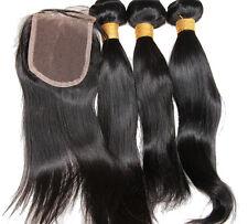 "Straight Virgin Human Hair Extension 3 Bundles 14"" 300g Hair Weft &10"" Closure"