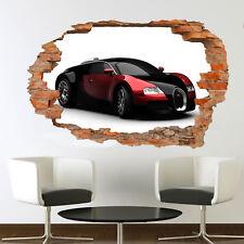 FAST SPORT CAR BUGATTI WALL STICKERS 3D ART MURAL ROOM OFFICE SHOP DECOR VS2