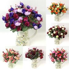 2018 Artificial Flowers Long Stem Silk Rose Froral Bouquet Wedding Party Decor