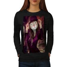 Kitty Girl Cute Face Cat Women Long Sleeve T-shirt NEW | Wellcoda
