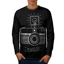 Appareil photo sourire Photo Drôle Hommes T-shirt à manches longues Nouveau | wellcoda