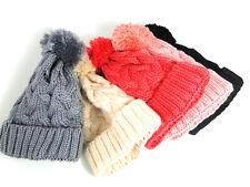 Gorro en Punto Lana Invierno Caliente Beanie Colores con Pompom Tendencia 7639c2b938e
